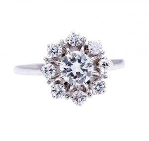 French Vintage Diamond Cluster Engagement Ring, 1.25 carat total