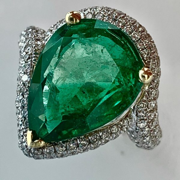 Fine 7.04ct Emerald and Diamond Cluster Ring in 18ct White Gold