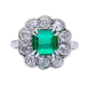 Vintage Colombian Emerald and Diamond Daisy Cluster Ring, 2.30 carats