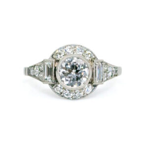 Vintage Art Deco Style Diamond and Platinum Cluster Ring, 1.39 carat total