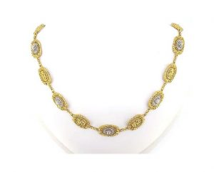 Vintage French Diamond Set 18ct Yellow Gold Necklace