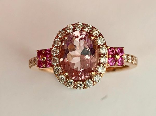 1.28ct Brazilian Morganite and Diamond 18ct Rose Gold Cluster Ring