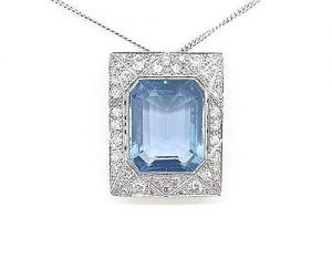Art Deco Style Asscher Cut Aquamarine and Diamond Pendant, 18ct Gold