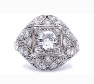 Antique Belle Epoque 2.00ct Diamond Cluster Bombe Ring in Platinum