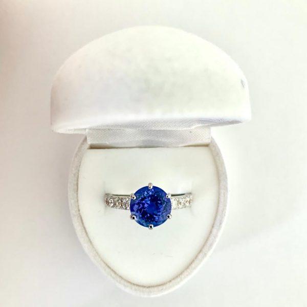 Fine 3.07ct Tanzanite and Diamond Engagement Ring, 18ct White Gold
