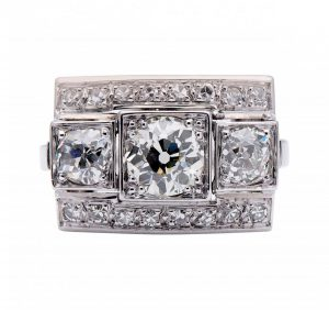 Art Deco Large Diamond Plaque Dress Ring, 2.00 carat total