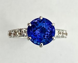 Fine 3.07ct Tanzanite and Diamond Engagement Ring, 18ct White Gold