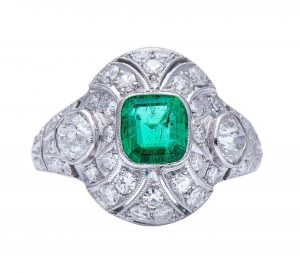 Art Deco Colombian Emerald and Diamond Domed Cluster Ring, 2.90cts