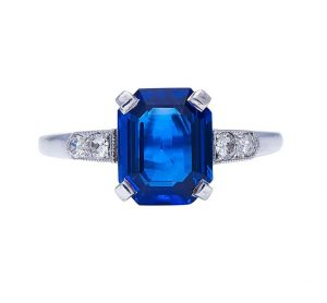 Art Deco Emerald Cut 3ct Burmese Sapphire and Diamond Ring, Certified