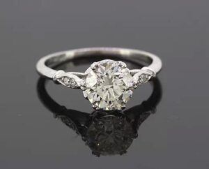 Vintage 1.51ct Old Cut Diamond Solitaire Engagement Ring, In Platinum