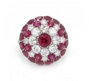 Vintage 1950's Ruby, Diamond and Platinum Bombé Ring, 3.50 carat total