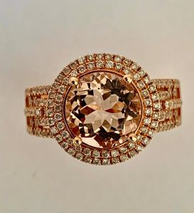Fine 2.35ct Brazilian Morganite 18ct Rose Gold Dress Ring