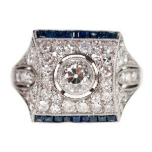 Vintage Diamond Sapphire and Platinum Cocktail Dress ring, 1.85 carats