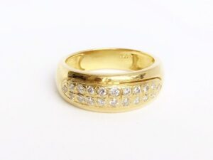 Double Row Brilliant Cut Diamond Dress Ring, 18ct Yellow Gold