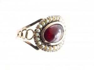 Antique Victorian Cabochon Garnet and Pearl Gold Ring, Circa 1880