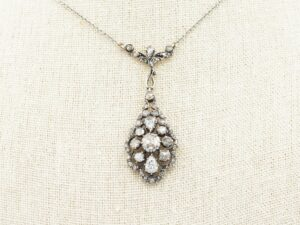 Antique Rose Cut Diamond Pendant set in Silver