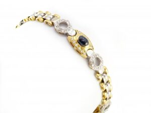 Cabochon Sapphire and Diamond Bracelet, 18ct Yellow and White Gold