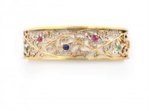 Antique Art Nouveau Gem Set Gold Bracelet, Circa 1885