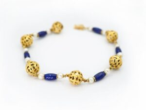 Antique Edwardian Blue Enamel and Pearl Gold Bracelet