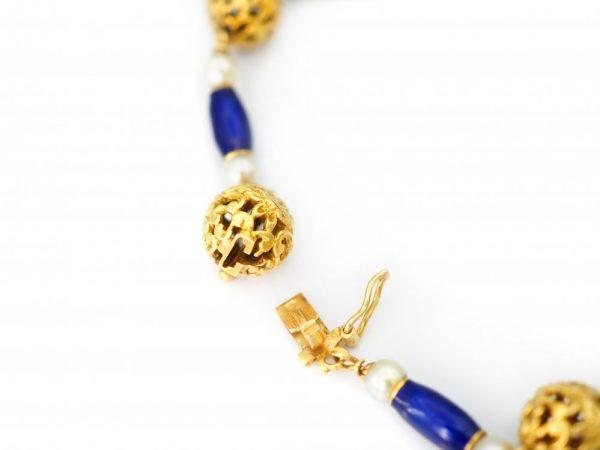 Antique Edwardian Blue Enamel and Pearl Gold Bracelet