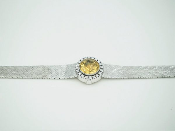 Vintage 5.00ct Citrine and Diamond White Gold Bracelet, Circa 1960