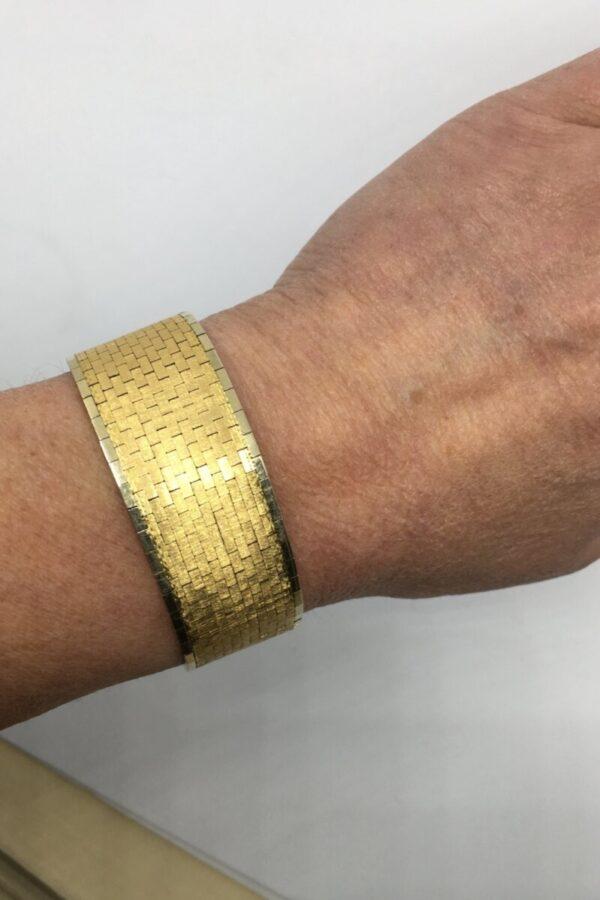 Vintage 1960s Wide Matte Gold Bracelet