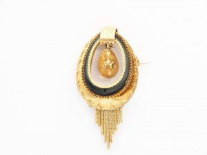 Antique Victorian Dutch Black Enamel Gold Brooch