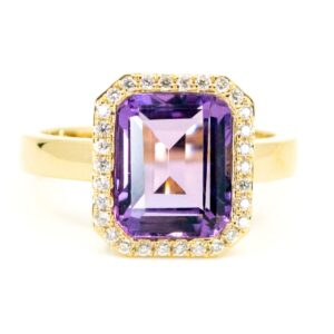 Amethyst And Diamond Cluster Gold Ring