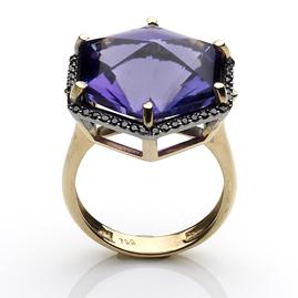 Amethyst and Black Diamond Dress Ring