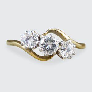 Antique Edwardian Diamond Three Stone Ring, 18ct Gold