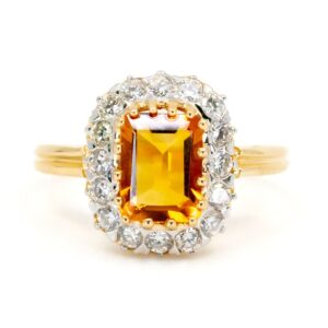 Antique Style Citrine and Diamond Cluster Ring