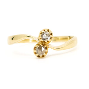 Antique Victorian Rose Cut Diamond Crossover Ring