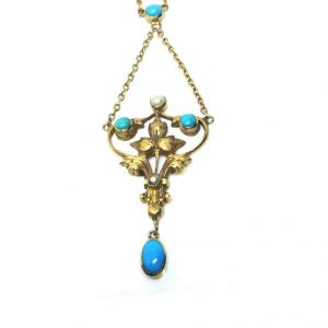 Antique Turquoise, Pearl and Gold Pendant Necklace Circa 1870