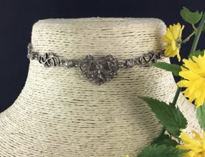 Antique Napoleon Era French Paste Choker Necklace in silver