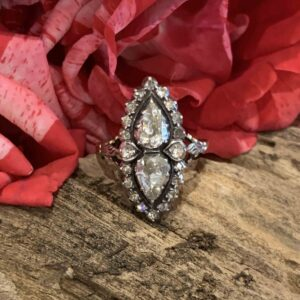 Antique Double Rose Cut Diamond  Ring, Marquise Shape