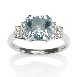 Art Deco Style Aquamarine Diamond Ring