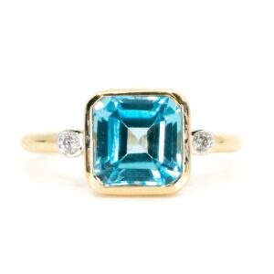 Art Deco Style Blue Topaz and Diamond Ring