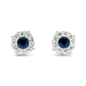 Art Deco Style Sapphire and Diamond Cluster Stud Earrings