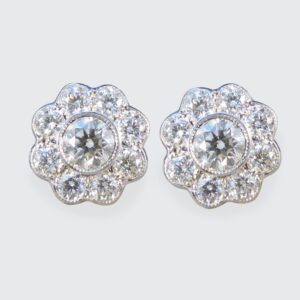 Daisy Cluster 1.30ct Diamond Earrings in 18ct White and Yellow Gold