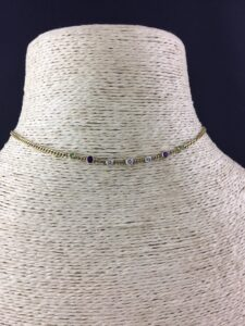 Vintage Suffragette Colours Peridot, Amethyst and Diamond Set Necklace, 18ct Yellow Gold
