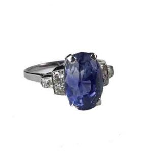 Antique Art Deco 6 Carats Ceylon Sapphire and Diamond Ring