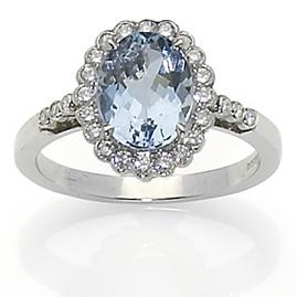 Edwardian Style Aquamarine Diamond Cluster Ring