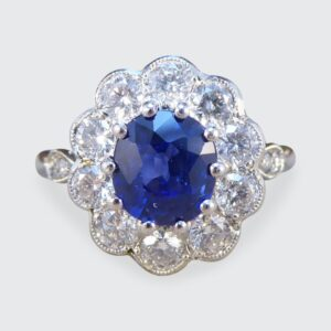 Edwardian Style Sapphire 1.65ct and Diamond Cluster Ring, Platinum