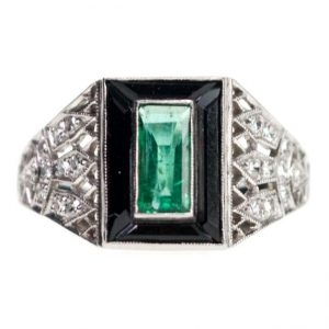 Emerald, Onyx, Diamond and Platinum Dress Ring