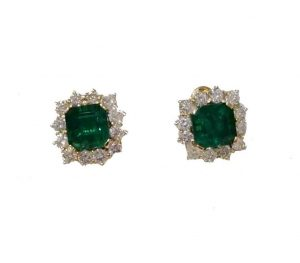 Vintage Columbian Emerald and Diamond Cluster Earrings, Studs