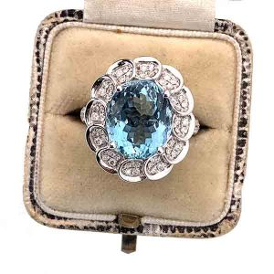David Jerome5 carat aquamarine and diamond cluster ring