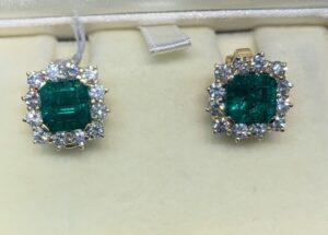Vintage Columbian Emerald and Diamond Cluster Earrings, Studs
