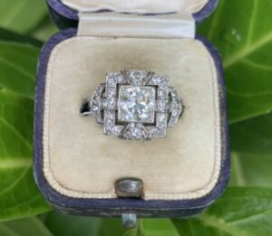 Art Deco Square Diamond Dress Engagement Ring, Platinum
