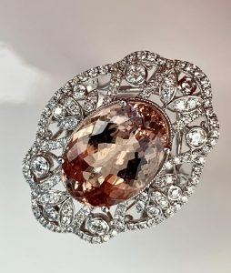 Fine 9.22ct Morganite and Diamond Dress Ring in 18ct White Gold