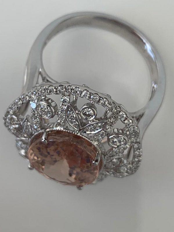 Fine 9.22ct Morganite and Diamond Dress Ring in 18ct White Gold